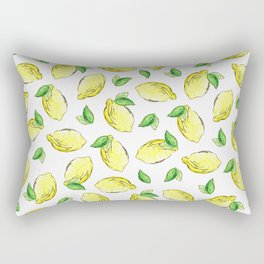 Lemon Watercolor Pattern Rectangular Pillow