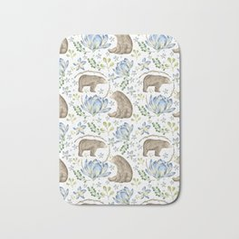 Bears in Blue Flowers Bath Mat