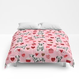 Dalmatian valentines day cupcakes and hearts love dog breeds dog lovers valentine Comforters