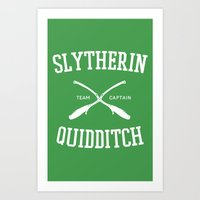quidditch Art Prints featuring Hogwarts Quidditch Team: Slytherin by IA Apparel