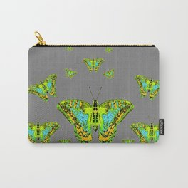 BLUE-GREEN-YELLOW PATTERNED MOTHS ON GREY Carry-All Pouch