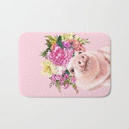 Flower Crown BB Pig in Pink Bath Mat