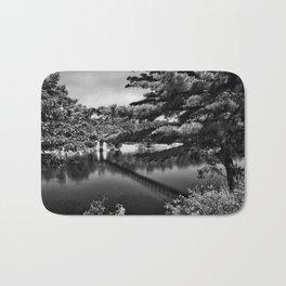 Androscoggin Swing Bridge (black and white) Bath Mat