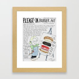 PleaseYa Burger aka Pizza Burger Framed Art Print