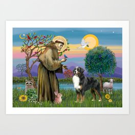 Saint Francis Blesses a Bernes Mountain Dog Art Print