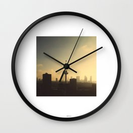 Sun rising in Rotterdam Wall Clock