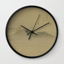 Japanese Print - Evergreens on Distant Hills - Kano Tanyu 1665 Wall Clock