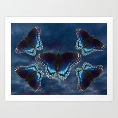 Five Red Spotted Purple Butterflies Midnight Blue Skies Art Print