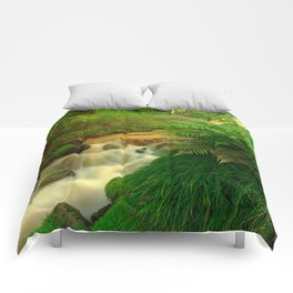 Stream in the forest Comforters