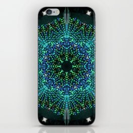 Kaleidoscope fantasy on lighted peacock shape iPhone Skin