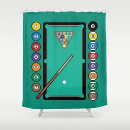 Billiards Table and Equipment Shower Curtain