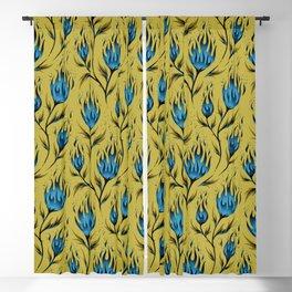 Fire Flower - Gold Blue Blackout Curtain