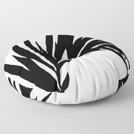 Black and White Curved Palm Frond Ink Drawing Floor Pillow
