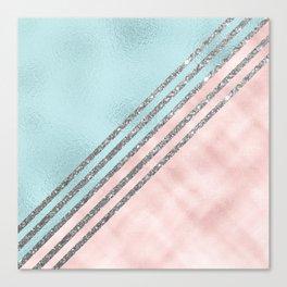 Blush pink aquamarine faux foil silver glitter geometrical Canvas Print