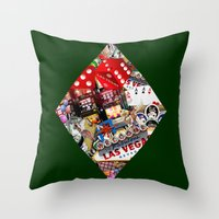 cyarin Throw Pillows featuring Diamond Playing Card Shape - Las Vegas Icons by Gravityx9