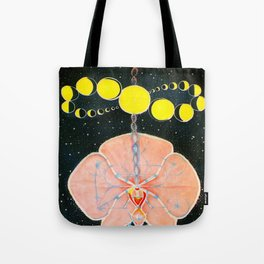 Moon Orchid Flower Space Tapestry Crystals Sacred Geometry Metatron's Cube Visionary Art Tote Bag