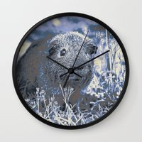 guinea pig Wall Clocks featuring blue guinea pig by MehrFarbeimLeben