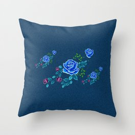 Blue Embroidery Rose Throw Pillow