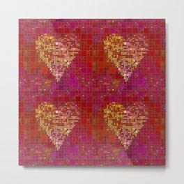 Red Love Heart Tile Art Metal Print