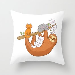 Lazy Sloth Loves Kitty Cute Cats Gift Throw Pillow