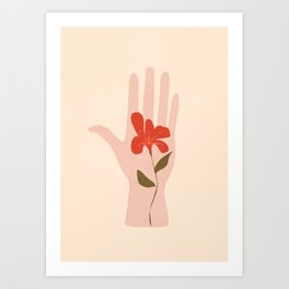 Flower on the Palm of the Hand Art Print