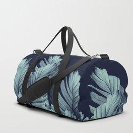 Navy Blue Banana Leaves Dream #1 #tropical #decor #art #society6 Duffle Bag