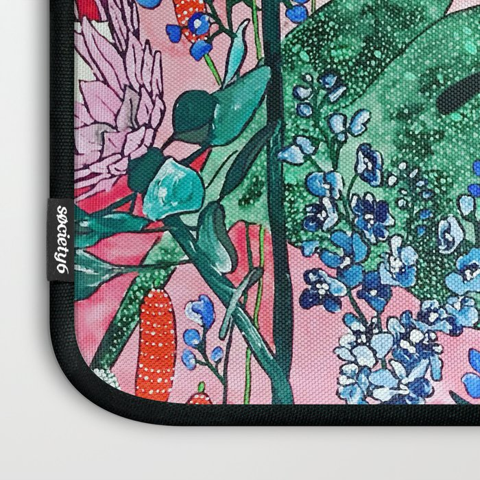 Ruby Red Floral Jungle Laptop Sleeve