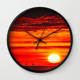 Isle of Anglesey Windmill Sunset over Irish Sea Wall Clock