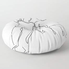 Lovers - Minimal Line Drawing2 Floor Pillow