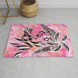 Pink Tribal Floral Rug