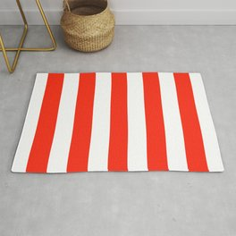 Red (RYB) - solid color - white vertical lines pattern Rug
