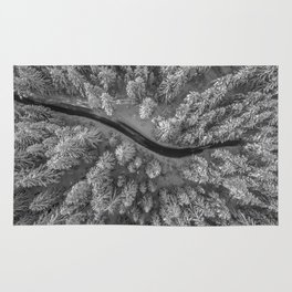 Snow pine forest Rug