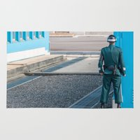 korea Area & Throw Rugs featuring Guarding the MDL_South Korea by Jennifer Stinson
