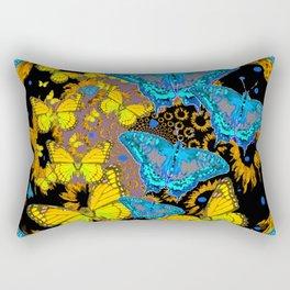 Oriental Style Blue & Gold Butterflies Nature Art Rectangular Pillow