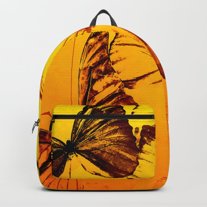 Fly fly butterfly! - Butterflies on a orange background with sunlight #society6 #buyart Backpack