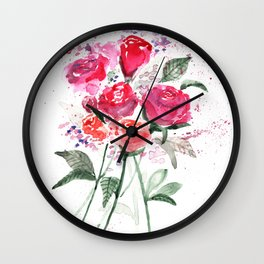 Abstract Watercolor Red Roses Wall Clock
