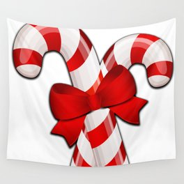 Candy Canes with a Bow Wall Tapestry