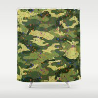 camouflage Shower Curtains featuring CAMOUFLAGE by DIVIDUS