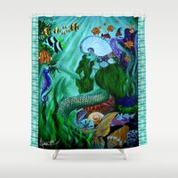 little mermaid Shower Curtains featuring Little Mermaid. by Sylvie Heasman
