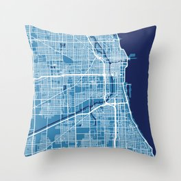 Chicago Map | Blue & Blue Colors Throw Pillow