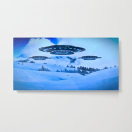 UFOs in the Mountains by Raphael Terra Metal Print