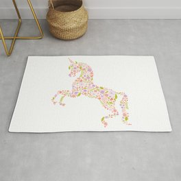 Floral Unicorn in Pink + Purple Rug