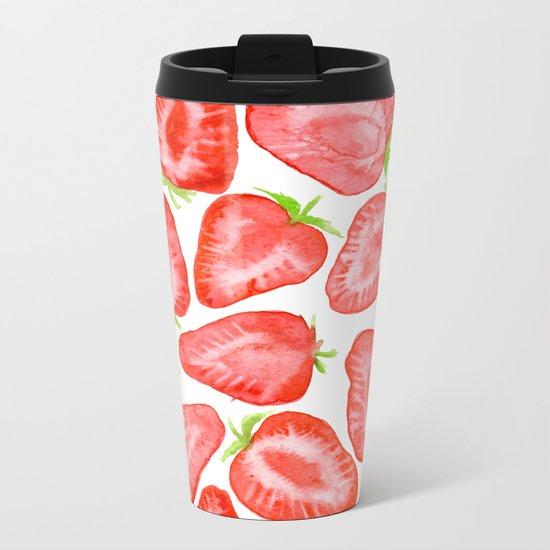 Watercolor strawberry slices pattern Metal Travel Mug