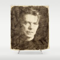 bowie Shower Curtains featuring Bowie by Little Bunny Sunshine