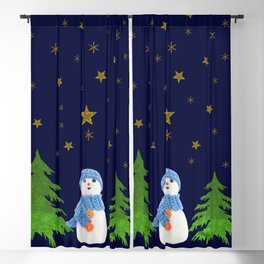 Sparkly gold stars, snowman and green tree Blackout Curtain