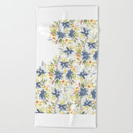 Blue Watercolor Florals Beach Towel