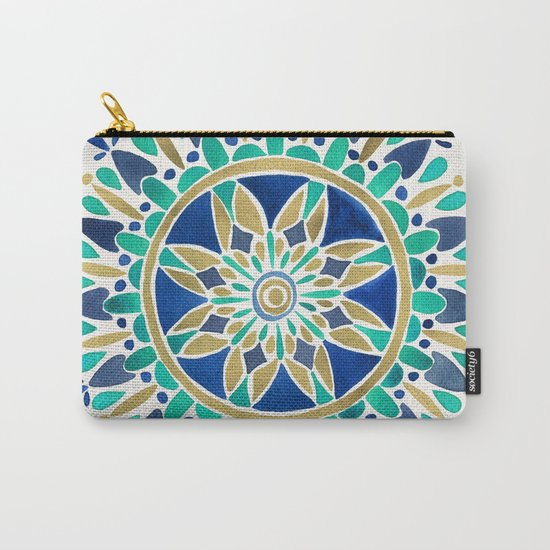 Mandala – Gold & Turquoise Carry-All Pouch