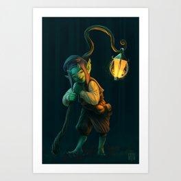 Lantern Goblin (#Drawlloween2016 Series) Art Print