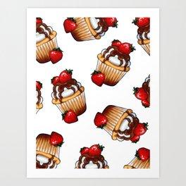 Cupcake, Random Pattern, Chocolate, Strawberries Art Print