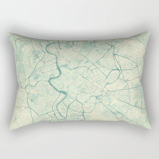 Rome Map Blue Vintage Rectangular Pillow
